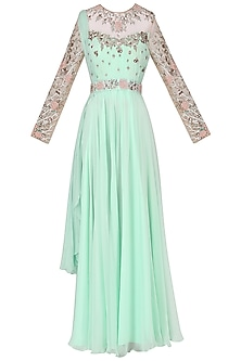Mint Green Embroidered Anarkali Set by Mani Bhatia