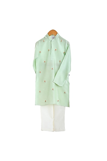 Mint Green Embroidered Kurta Set by Mi Dulce An'Ya