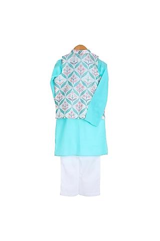 Turquoise Printed Bandhgala Jacket Set by Mi Dulce An'Ya