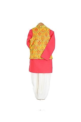 Yellow & Pink Embroidered Jacket Set by Mi Dulce An'Ya