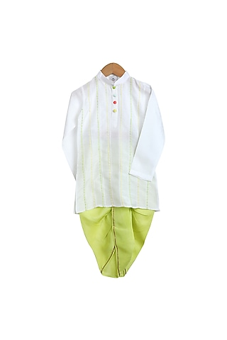 White & Green Embroidered Kurta Set by Mi Dulce An'Ya
