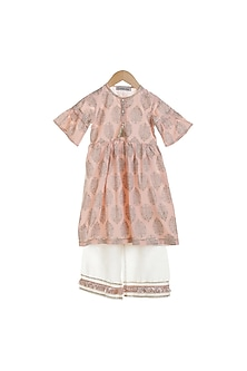 Peach Printed Kurta Set by Mi Dulce An'ya