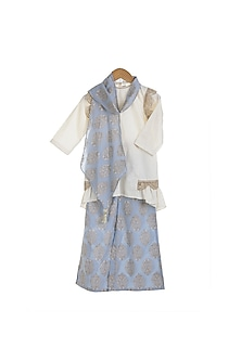 Cream & Sky Blue Embellished Printed Kurta Set by Mi Dulce An'ya