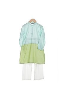 Sky Blue & Mint Green Kurta Set by Mi Dulce An'ya