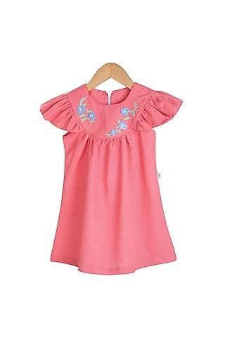 Fuchsia Hand Embroidered Dress by Mi Dulce An'Ya