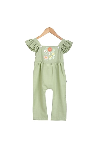 Mint Hand Embroidered Ruffled Jumpsuit by Mi Dulce An'Ya
