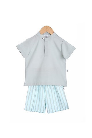 Sky Grey Shirt With Striped Bermuda Pants by Mi Dulce An'Ya
