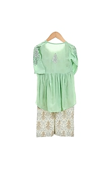 Mint Green Printed Jumpsuit With Embroidered Jacket by Mi Dulce An'ya