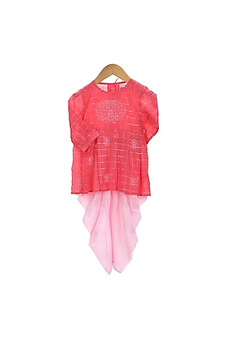 Red & Pink Embroidered Dhoti Set by Mi Dulce An'ya