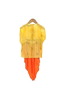 Yellow & Orange Embroidered Dhoti Set by Mi Dulce An'ya