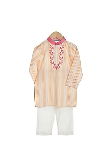 Orange & Ivory Embroidered Kurta Set by Mi Dulce An'ya