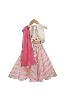 White & Fuchsia Hand Embroidered Lehenga Set by Mi Dulce An'ya