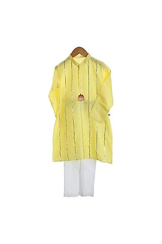 Yellow & Ivory Hand Embroidered Kurta Set by Mi Dulce An'ya