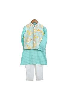Sky Blue Printed Jacket & Kurta Set by Mi Dulce An'ya