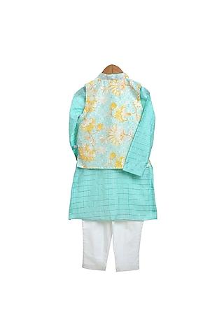 Sky Blue Printed Jacket & Kurta Set by Mi Dulce An'ya