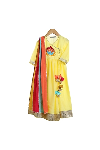 Yellow Anarkali Set With Gota Detailing by Mi Dulce An'ya