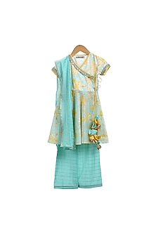 Sky Blue Printed Kurta Set by Mi Dulce An'ya