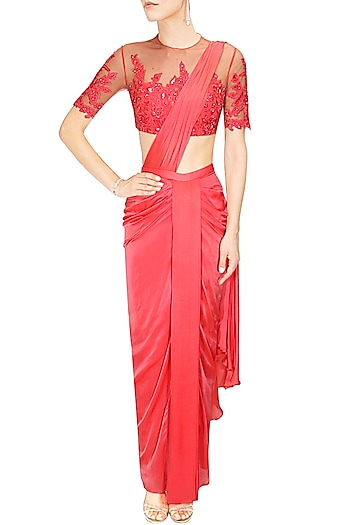 Crimson red draped sari with floral embroidered blouse by Medha Batra
