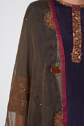 Olive Green Hand Embroidered Dupatta by Medha