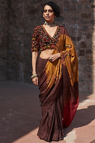 Brown & Mustard Embroidered Saree Set by Medha