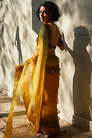 Yellow & Green Hand Embroidered Ombre Saree Set by Medha