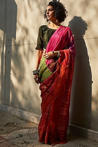 Multi Colored Embroidered Saree Set by Medha