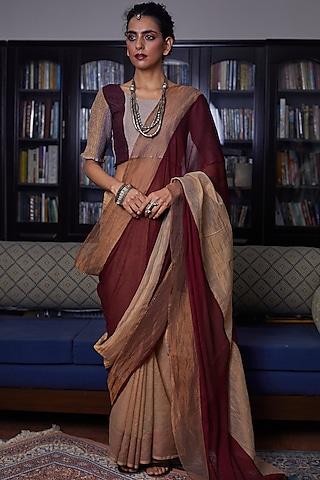 Light Golden Paneled Saree Set by Medha