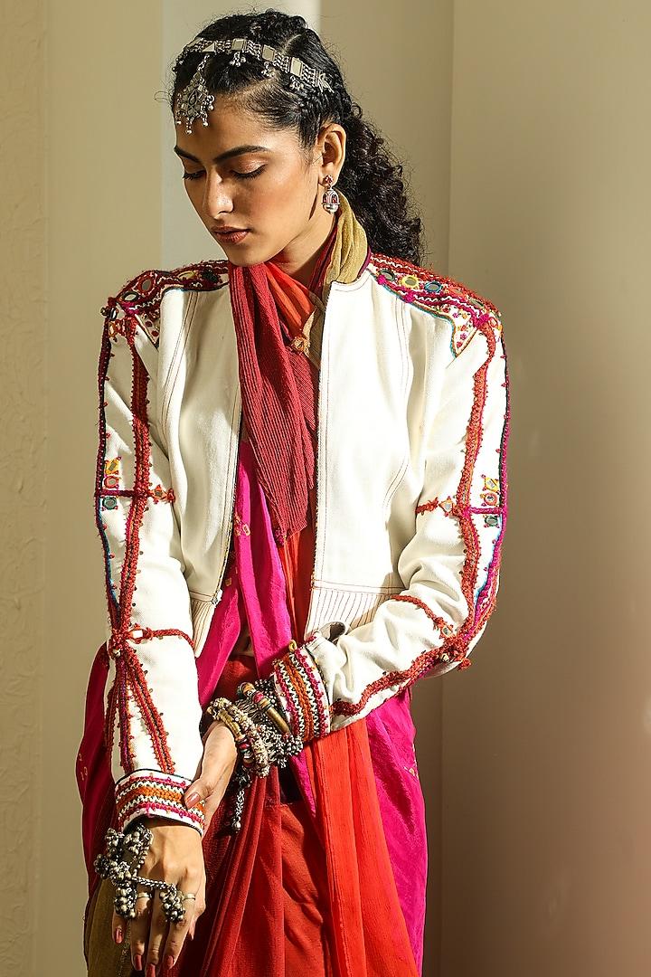 White Denim Jacket With Handwork by Medha