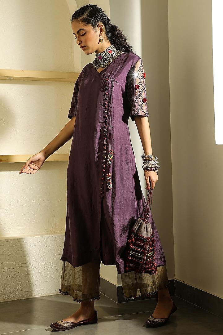 Plum Hand Embellished Potli Bag by Medha