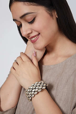 White Finish Hand Cuff In Sterling Silver by Mero