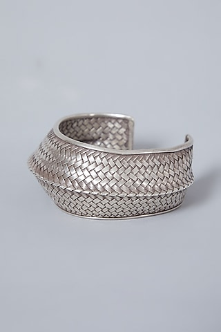 White Finish Textured Hand Cuff In Sterling Silver by Mero