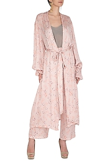 Baby Pink Printed Duster Cape by Meadow