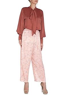 Brick Red Printed Summer Pants by Meadow