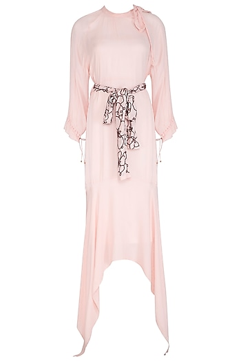 Baby Pink Dress With Printed Belt by Meadow