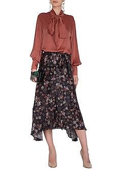 Midnight Blue Printed Asymmetrical Skirt by Meadow
