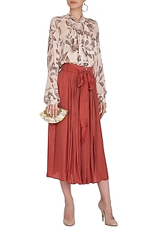 Ruby Wrinkled Silk Skirt by Meadow