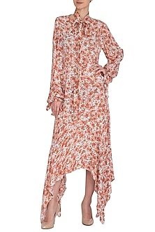 Ivory Floral Printed Asymmetrical Dress by Meadow