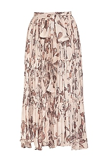 Ivory Printed Gathered Skirt by Meadow
