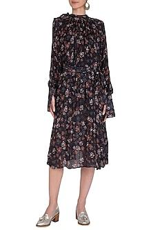 Midnight Blue Printed Midi Dress by Meadow