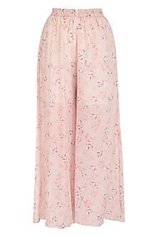 Baby Pink Printed Wide Leg Pants by Meadow