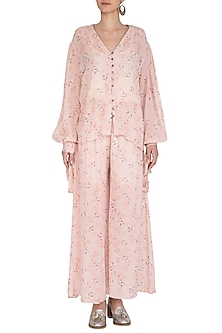 Baby Pink Printed Wide Leg Pants by Meadow