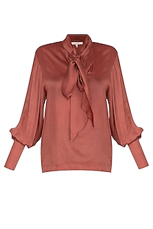 Terracotta Brown Bow-Tie Top  by Meadow