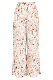 Ivory Printed Wide Leg Pants by Meadow