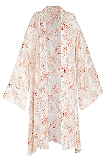 Ivory Printed Kimono Robe by Meadow