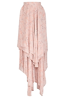 Baby Pink Printed Asymmetrical Skirt by Meadow