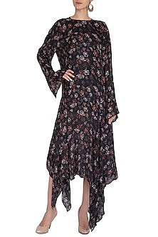 Midnight Blue Printed Asymmetric Midi Dress by Meadow