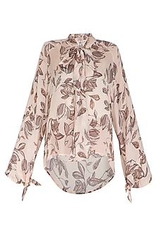 Ivory Summer Foliage Printed Top by Meadow