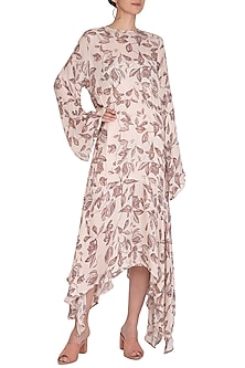 Ivory Printed Asymmetric Dress by Meadow