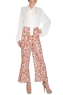 Ivory Printed Straight Leg Pants by Meadow