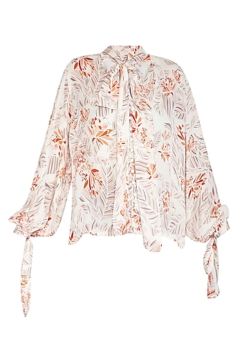 Ivory Printed Bow Neck Tie-Up Top by Meadow